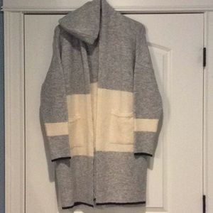 TopShop long sweater coat gray & ivory size 6